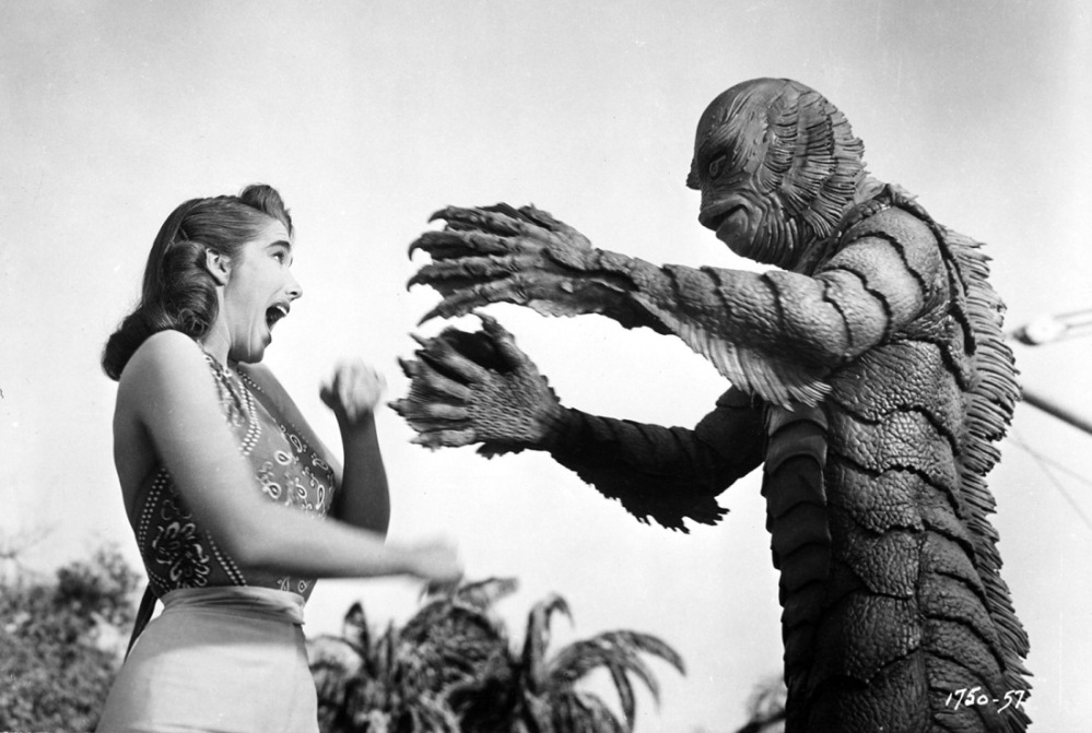 Julie Adams and the Gill Man in CREATURE FROM THE BLACK LAGOON, 1954.